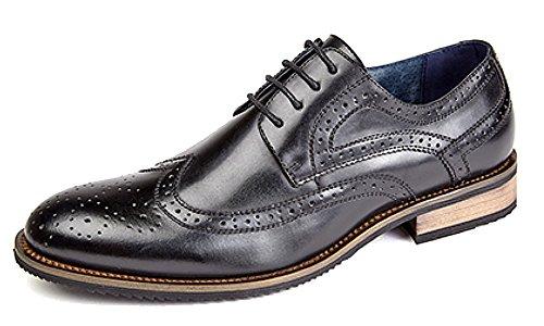 Hommes 4 œillet Brogue Cravate Chaussure avec Doublure En Cuir Noir - Noir