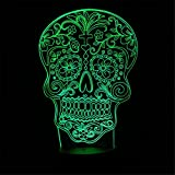 HONG KONG QIANCHENG TRADING LIMITED Gothic Sugar Skull 3D LED Nachtlicht 3D Optische Illusion Lampe Elsley 7 Farben Touch Tischlampe mit Acryl, flach, ABS Kunststoff Base, USB-Ladegerät
