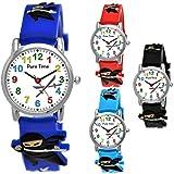 Pure Time® Kinder-Uhr Mädchen-Uhr für Kinder Jungen-Uhr Silikon-Kautschuk Armband-Uhr Uhr mit 3D Ninja Samurai Waffen Motiv Ninjauhr Lern-Uhr Schul-Uhr Sport-Uhr Schwarz Weiß (Blau)