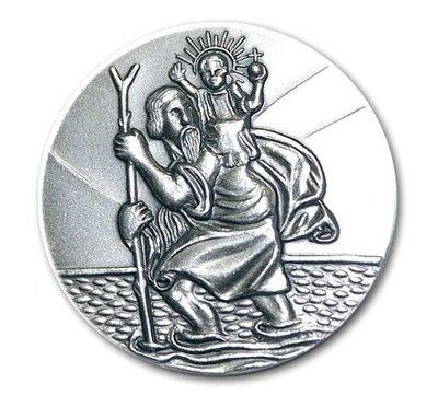 Hl. St. Christophorus 3 cm Plakette, 999- feinversilbert, gesegnet und geweiht