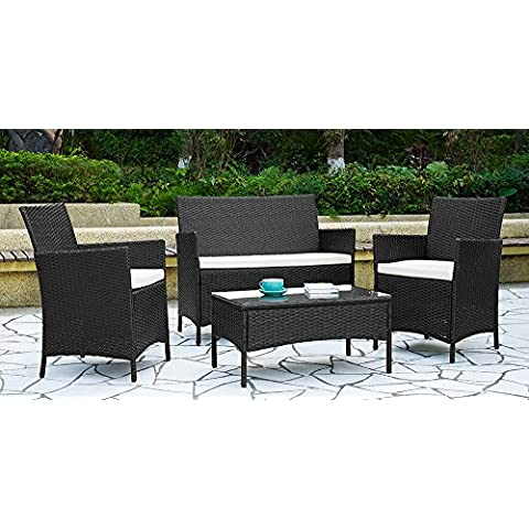 Garden Furniture Set Table Chair and Sofa Black RATTAN Conservatory,