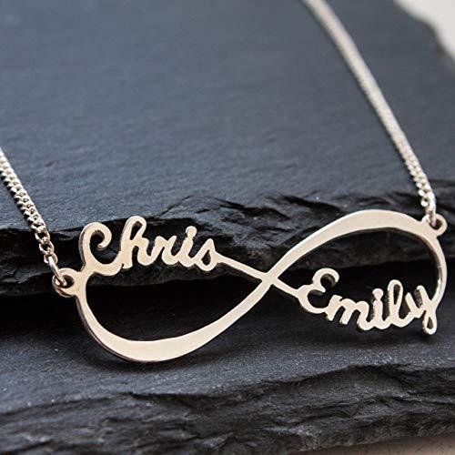 Infinity - Unendlich Namenskette Sterling Silber, Personalisiert Unendlich Kette mit Ihren eigenen 2...