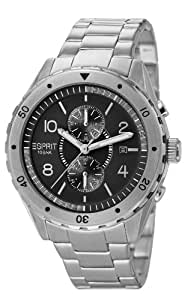 Esprit Alamo Men's Quartz Watch with Black Dial Analogue Display and Silver Stainless Steel