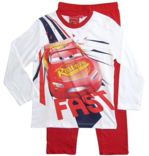 Cars Disney 3 Kollektion 2017 Schlafanzug 92 98 104 110 116 122 128 Jungen Pyjama Lang Lightning McQueen Blau (98, Weiß-Rot)