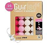 Guirlande lumineuse boules coton LED USB - Chargeur double USB 2A inclus - 3 intensités - 16 boules - Tagada