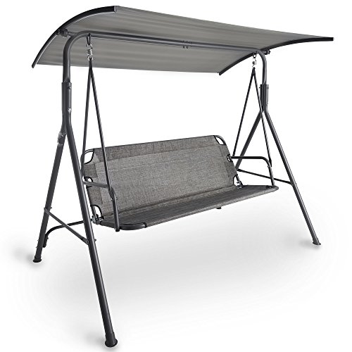VonHaus 3 Seater Swing Seat With Canopy – Made from Easy-clean Textoline in a Modern Design