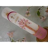 Taufkerze handverziert Lebensbaum altrosa gold mit Regenbogen Taufkerzen für Mädchen 300/70 mm mit Name und Datum