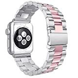 Correa para Apple Watch 38mm, correa de repuesto de acero inoxidable de 38mm, hebilla de metal, hebilla plegable, correa de muñeca para Apple Watch Series 3/2/1 Sport Edition de 38mm