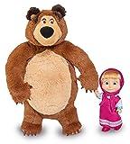 Simba 109301002 - Mascha und Der Bär Set Plüschbär + Puppe, Klein