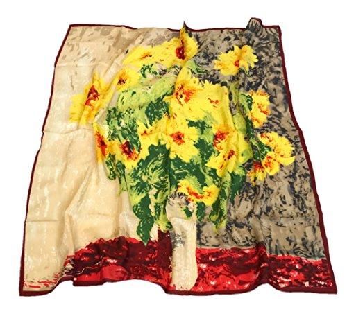 Prettystern P519 90 Pura Seta Stampa Pittura di Arte Del Panno Claude Monet Girasole