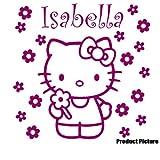Hello Kitty Blumen mit Ihrem Wunsch-Namen, 60 cm x 60 cm, Farbe: Himbeer, personalisierbar, name, Kinderzimmer, Kinder, Kinderzimmer, Wandtattoo, Vinyl, Fenster und Auto-Windows-Art Aufkleber Wand ThatVinylPlace Wandtattoo,