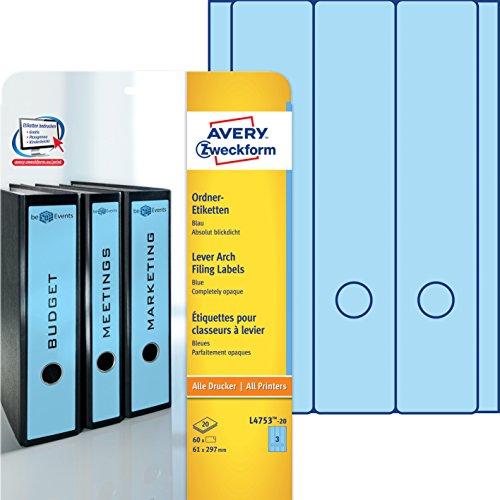 Avery Zweckform L4753-20 Ordner-Etiketten (A4, Rückenschilder, blickdicht, 60 Stück, 61 x 297 mm) 20 Blatt blau