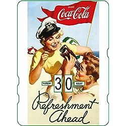 Calendario perpetuo Coca-Cola: chica Pin Up en la playa 'Refreshment Ahead'