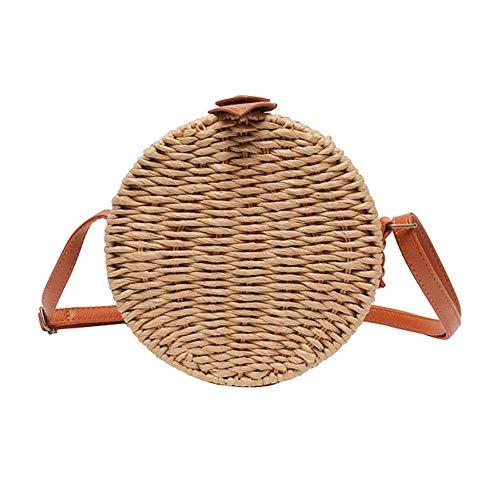 Stroh Crossbody Tasche Weben Schulter Tasche Frau Sommer Strand Pack Paper für die Reise im Alltag - Strand Paper Pack