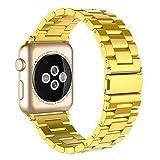 Simpeak Bracelet Compatible avec Apple Watch 38mm Métal Fermoir en Acier Inoxydable Bande de Remplacement pour Apple iWatch Series 4, Series 3, Series 2, Series 1, 38mm/40mm-Or Brillant