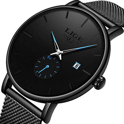 Uhren Herren,LIGE Wasserdicht Edelstahl Mode Schwarz Analog Quarz Uhr Datum Männer Kleid Casual Armbanduhr mit Mesh Band (Herren-kleid-uhr Bänder)