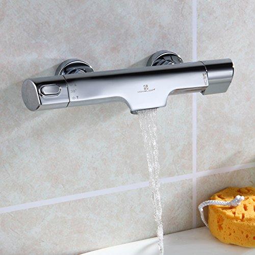 HOMELODY Mischbatterie Dusche Thermostat Badewannenarmatur mit 38°C Sicherheitstaste Brausethermostat Duschthermostat Dusch Armatur, chrom