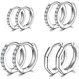 Xinstroe, orecchini a cerchio in argento Sterling 925, set di piccoli orecchini a cerchio, per donne e uomini, 4 paia 8/10/12