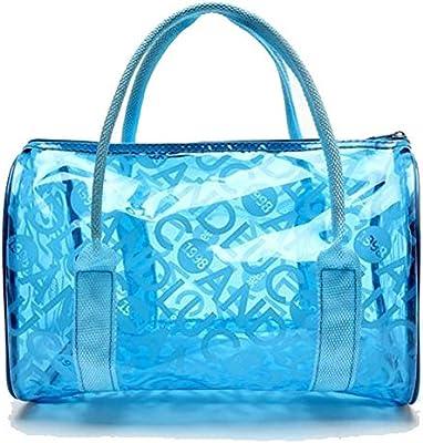 TININNA Moda y Simple bolso de mano, Impermeable Transparentes Bolsa de Mano, Bolso de Playa del PVC y Poliéster con el Bolso Cosmético Pequeño.