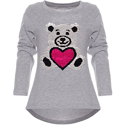 7dcea1613a Kinder Mädchen Langarmshirt Wende-Pailletten Long Shirt 21718 Grau Größe 128