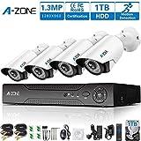 A-ZONE Videoüberwachung Überwachungsset Überwachungskamera Set 8 Kanal DVR Videorecorders mit Nachtsicht Kamera 4 x 1.3MP 960P Überwachungskamera Außen mit Bewegungsmelder, mit 1TB HDD
