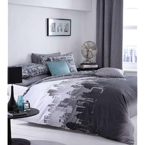 Catherine Lansfield City Scape - Juego de cama, funda de edredón(200cmx200cm) y  2 fundas de almohada  (50cmx75cm), diseño