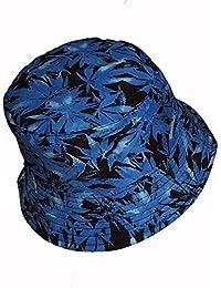Cool Colorful Cannabis diseño de hoja de marihuana cubo sombrero de sol azul