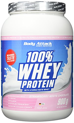 Body Attack 100% Whey Protein, Strawberry-White Chocolate, 1er Pack (1 x 900 g)
