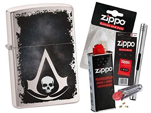 Zippo Assassin´s Creed Skull mit Zippo Zubehör Auswahl und L.B Chrome Stabfeuerzeug (mit Zubehör B)