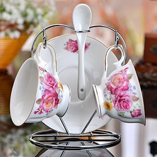 MZMZ-generic Gourmet Küche Home Restaurants im europäischen Stil kreative Geschenke Bone China Schwarzer Tee Kaffee Set von einfachen klassischen 2 Tassen Keramik Kaffeetasse mit Untertasse set Style 2
