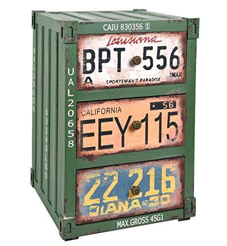 ts-ideen Container estantería cómoda de diseño estilo retro shabby industrial, color verde