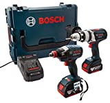 Bosch Professional GSB 18 VE-2-LI Cordless Combi Drill + GDX 18 V-LI Cordless Impact Driver with Two 18 V 5.0 Ah Lithium-Ion Batteries - L-Boxx