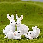 Saniswink 4Pcs Mini Rabbit Figurine Garden Decor Succulent Plants Landscape DIY Ornament