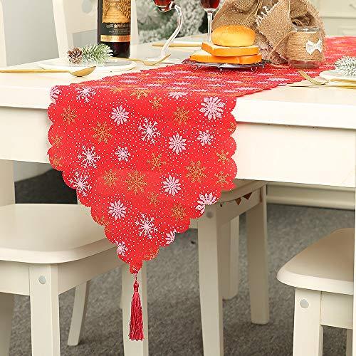 Ears Weihnachten Tischdecke Weihnachtsdekoration Leinen Gedruckt Tischfahne Tischset Weihnachtstischdecke Tischdecke Weihnachten rot mit Schneeflocken Wachstuchtischdecke Wachstuch -
