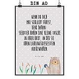 Mr. & Mrs. Panda Wandbild, Bild, Poster DIN A0 Otter mit Stein mit Spruch - Farbe Grau Pastell