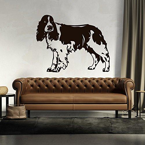 malango® Wandtattoo - Springer Spaniel Wand Tattoo Wandaufkleber Hund Hunderasse Tier Tierwelt Aufkleber ca. 80 x 62 cm grau -