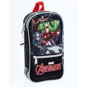 Avengers- Plumier Mochila con 4 portatodos llenos, Color Gris/Negro, 23 cm (SAFTA 411734747)