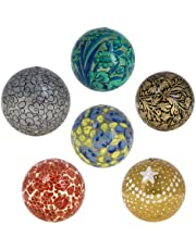 ShalinIndia Decor Diwali Ornaments Handmade Paper Mache Hanging Balls (3 Inch, Multicolour) -Set of 6
