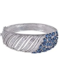 SHAZE Rhodium Plated Blue Ripple Bangle|Bracelet for Girls Stylish|Bracelets for Women Stylish|Bangles for Women