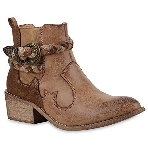 Damen Stiefeletten Cowboy Boots Western Stiefel Metallic 131480 HELLBRAUN 37 | (Country Stiefel Western)