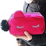 Doitsa Femmes Sacs à main Chat mignon Sac d'embrayage Sac cosmétique grande Sacs occasionnels Portefeuille de grande capacité Paquet de stockage de téléphone portable (Rose rouge)