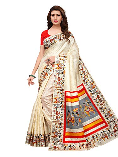 Varayu Women\'s Off white Color Khadi silk (Art silk) Varli Print Saree(811S108-Off white)