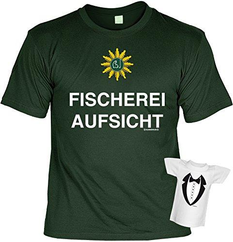 Angler T-Shirt Fischerei-Aufsicht Angel-Shirt bedruckt Geschenk-Set mit Mini Flaschenshirt