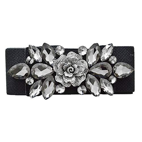 Jiyoujianzhuzhuangshigongchengyouxiangongsi - Waist belt for wedding, party, woman, modern, with floral buckle, with rhinestones, black black elastic