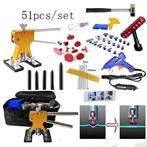 Lmhx 51 pezzi/set riparare ammaccature auto pannello carrozzeria, paintless rimozione estrattori + rosso t bar + martello + penna di nylon + pistola per colla + stick di colla + borsa per attrezzi