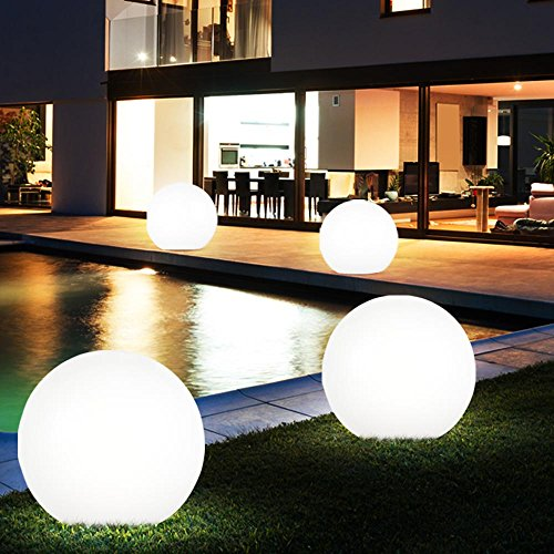 4x LED Solar Kugel Erdspieß Lampen Garten Steck Leuchten Hof Außen Strahler D 15 cm, 20 cm, 25 cm, 30 cm