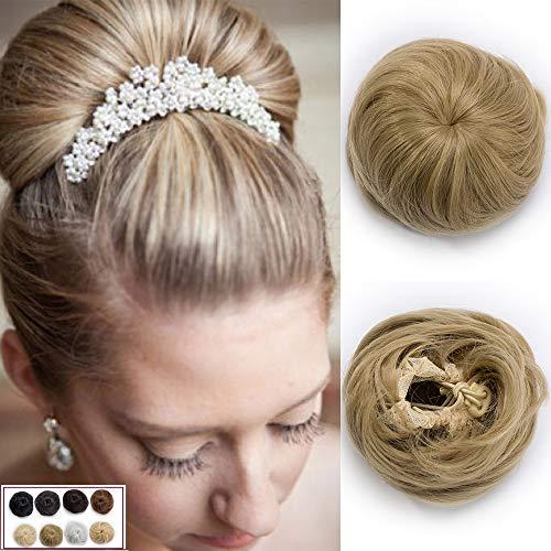 45g chignon capelli finti extension updo bun regolabile con clip capelli lisci hair scrunchie parrucchino - biondo cenere