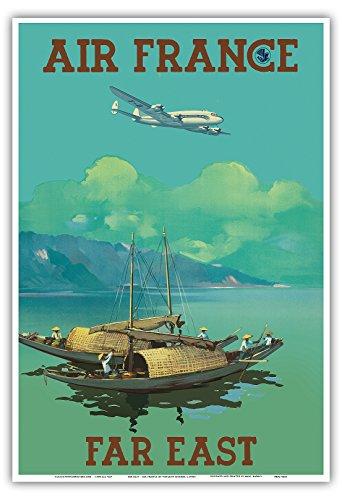 extremo-oriente-air-france-vintage-airline-travel-poster-por-vincent-guerra-c1950s-master-arte-impre
