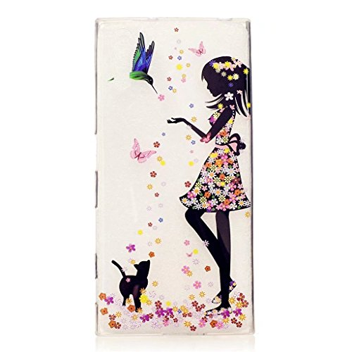Cute Sony Xperia XZ Case MUTOUREN Lovely Girl Animal Flower Fantasy Pattern Crystal Clear Soft Silicone TPU Bumper Case Protective Case for Sony Xperia XZ