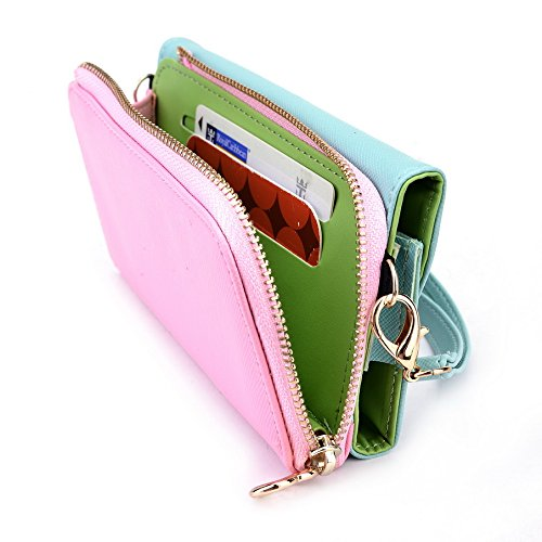 Kroo d'embrayage portefeuille avec Wristlet et bandoulière pour Samsung Galaxy S4Mini Smartphone Magenta and Yellow Green and Pink